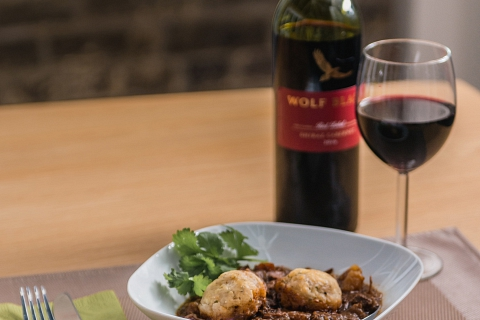 Stew and Dumplings with Red Wine